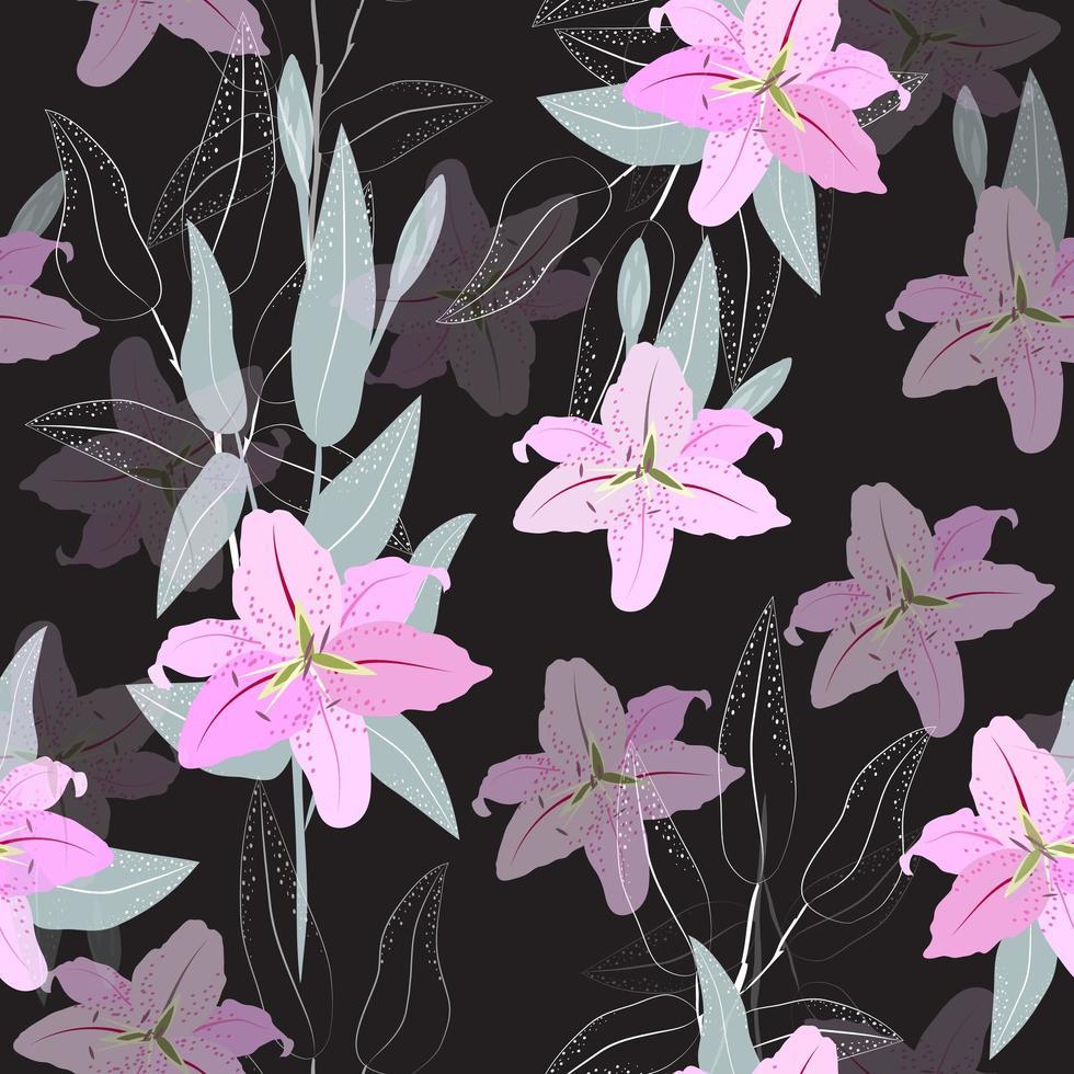 roze lelie bloemenpatroon vector