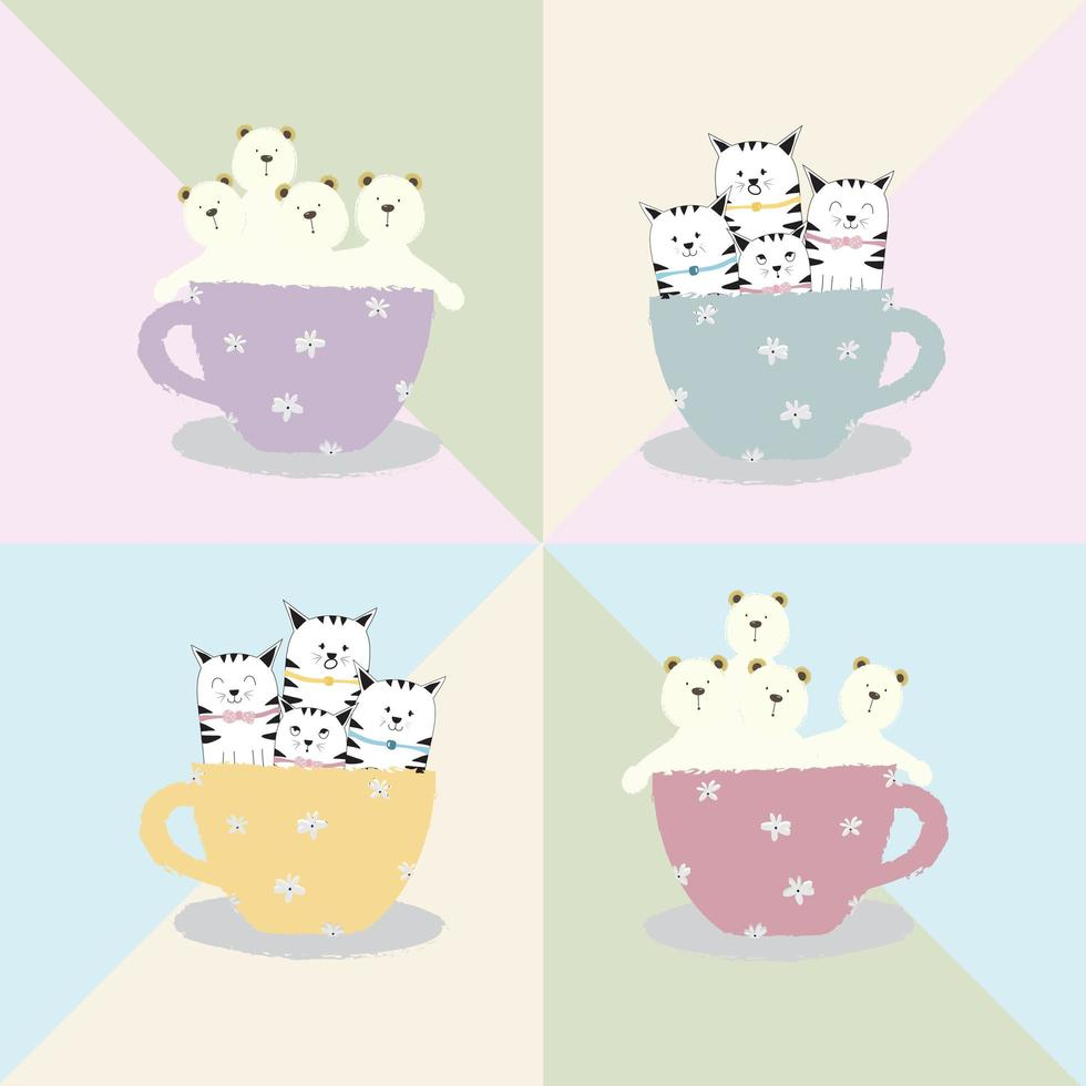 cute cartoon katten en beren in koffiekopje vector