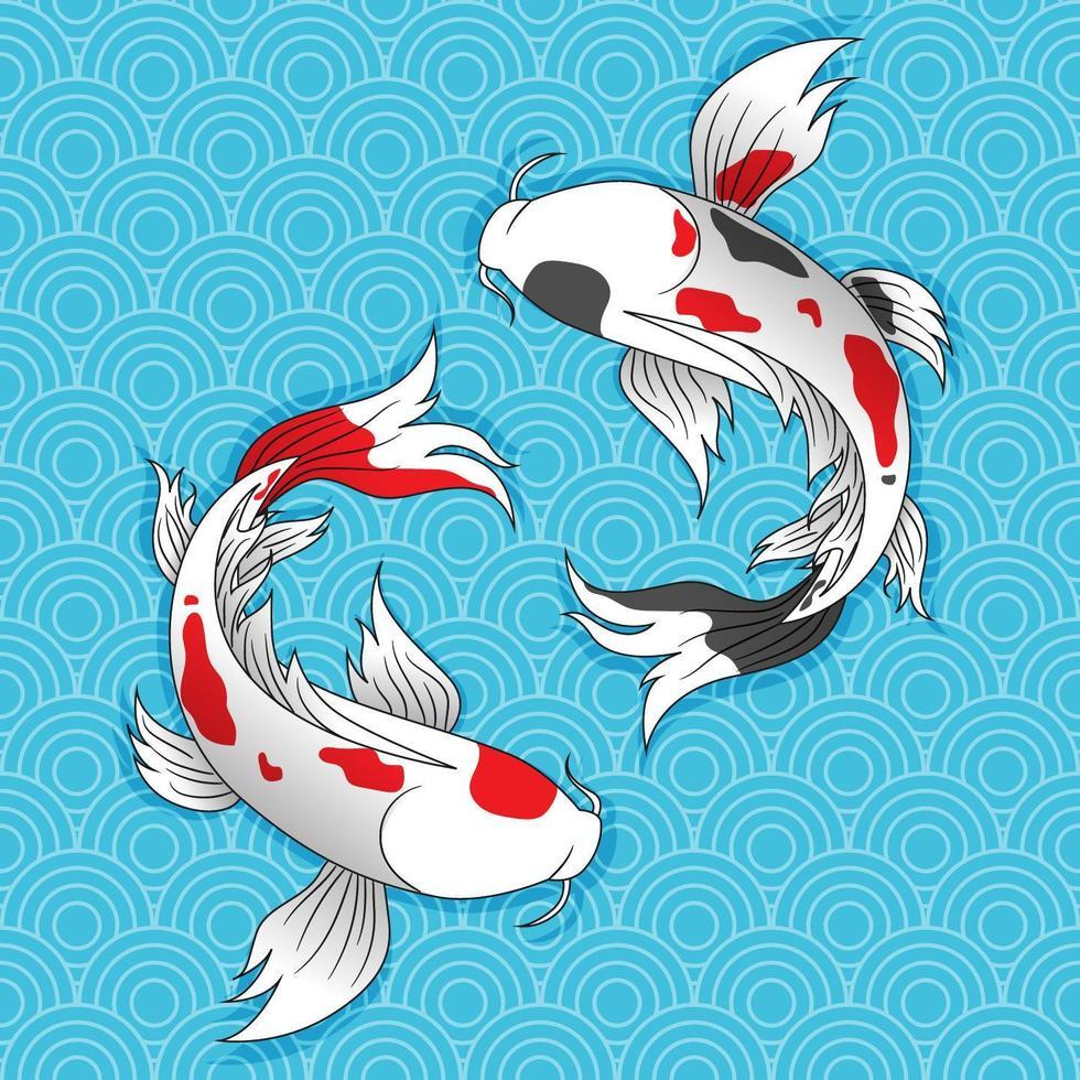 twee Japanse koivissen zwemmen. vector