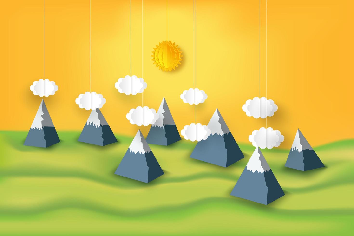 papierkunst bergen en zonneschijn vector