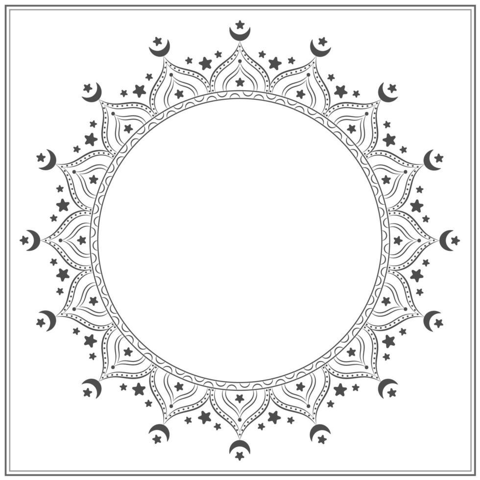 zwart-wit ster en maan mandala vector