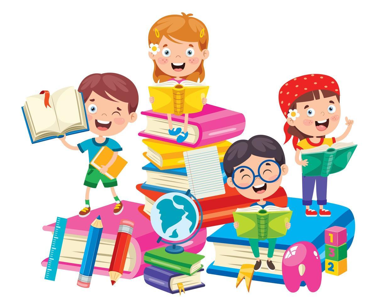 gelukkige schoolkinderen over het leren van grote boeken vector