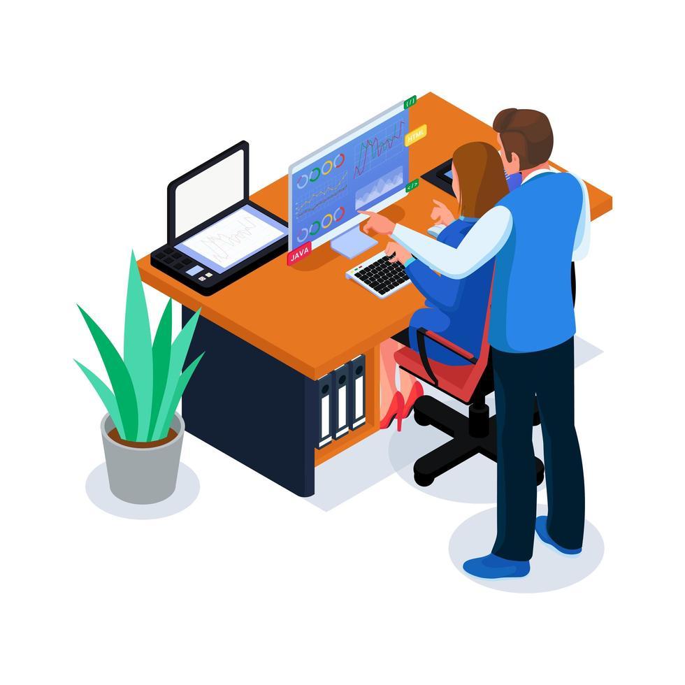 team dat bedrijfsanalyse in werkruimte doet vector