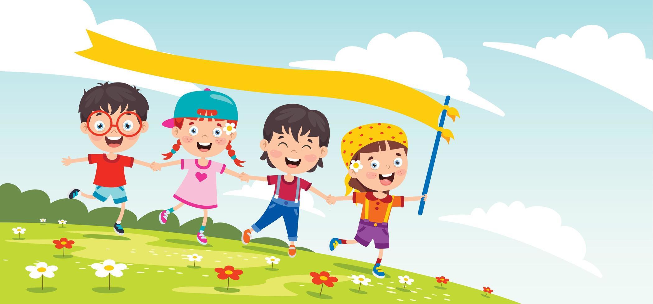 kinderen spelen buiten met banner vlag vector