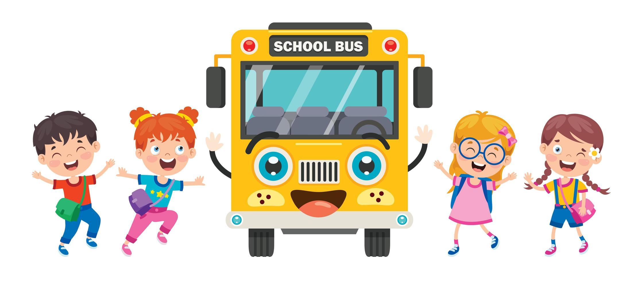 gele schoolbus voorkant en gelukkige kinderen vector