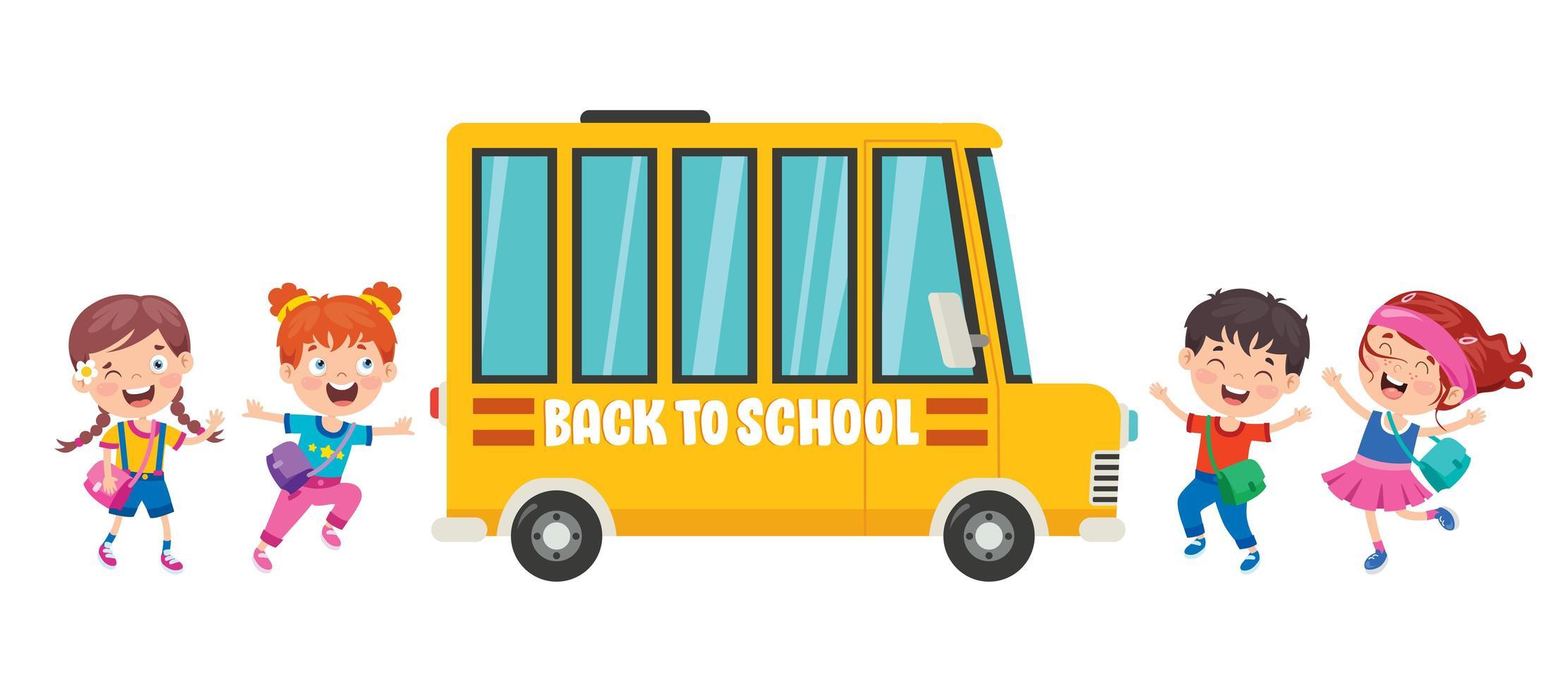 gelukkige kinderen lopen rond schoolbus vector