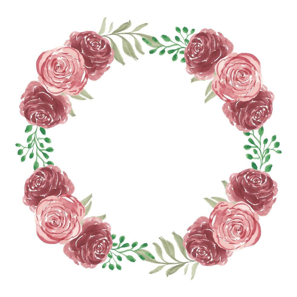 roze bloem krans in aquarel stijl vector
