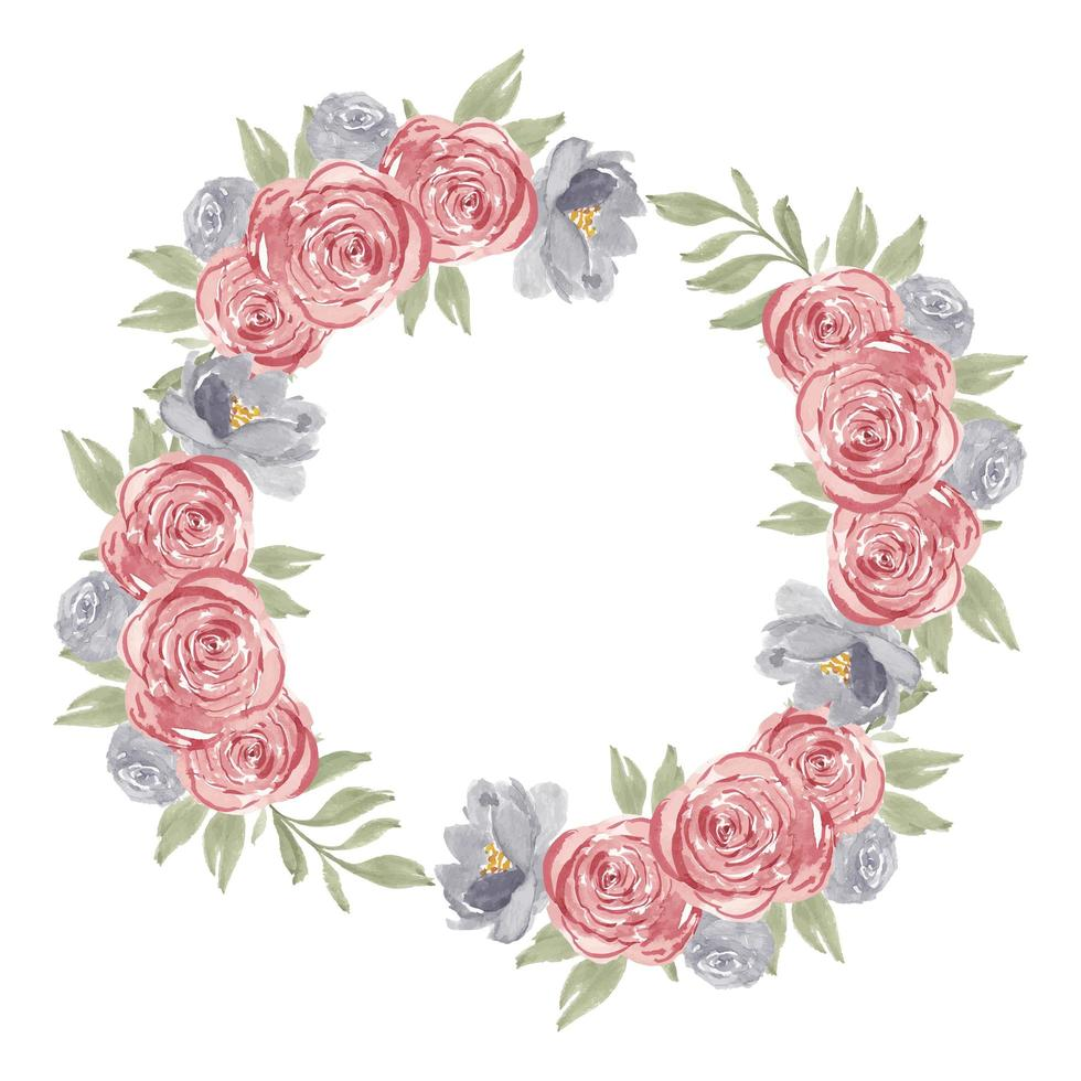aquarel roze roos bloem cirkel frame krans vector