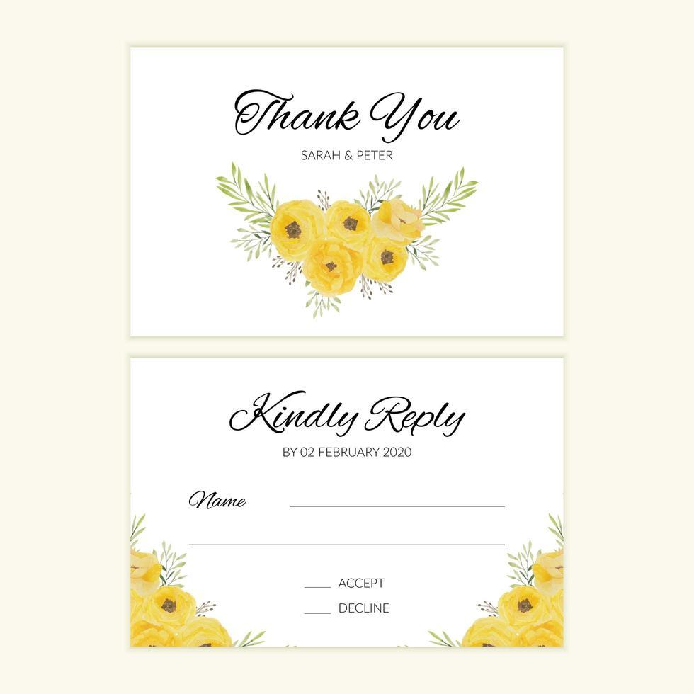 aquarel bruiloft rsvp-kaart met gele roos boeket vector