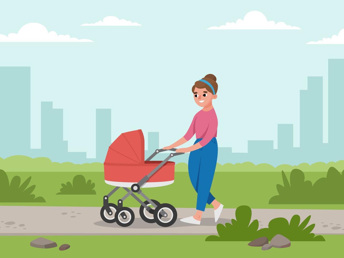 moeder en baby in kinderwagen vector