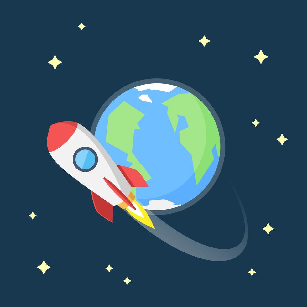 raket vliegt in de ruimte rond de aarde vector