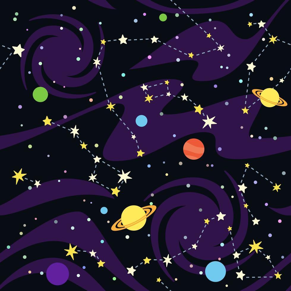 naadloos patroon van sterrenbeelden en planeten vector