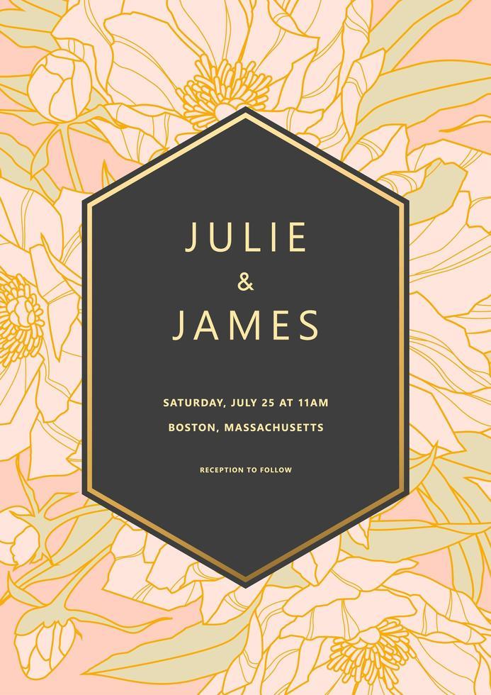 pioen bruiloft uitnodiging met zwart frame vector