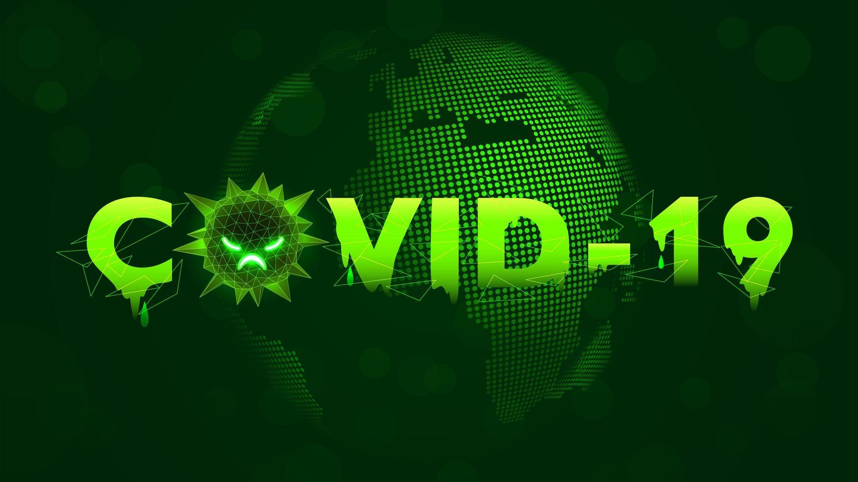 druipend covid-19 tekstontwerp met wereldbol vector