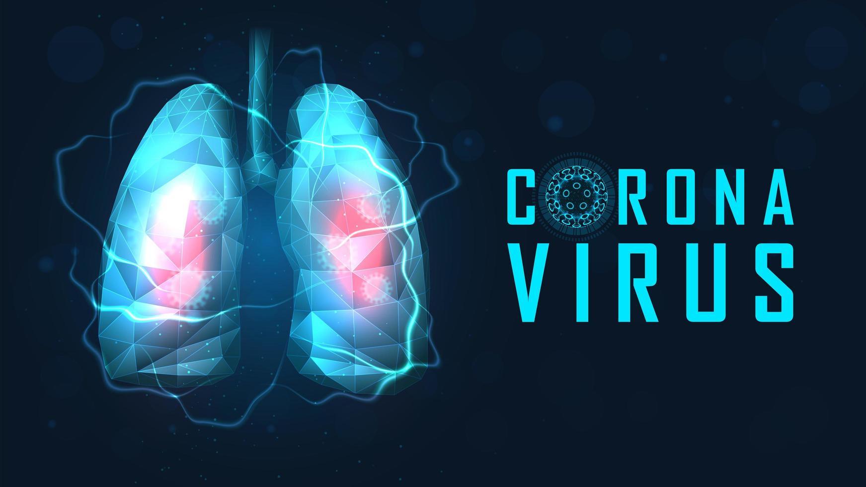 longen in polygoonstijl geïnfecteerd door coronavirus vector