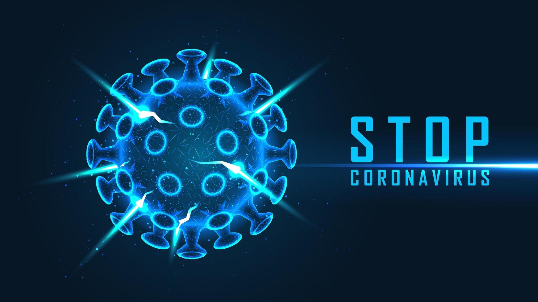 stop coronavirus poster met blauwe viruscel vector