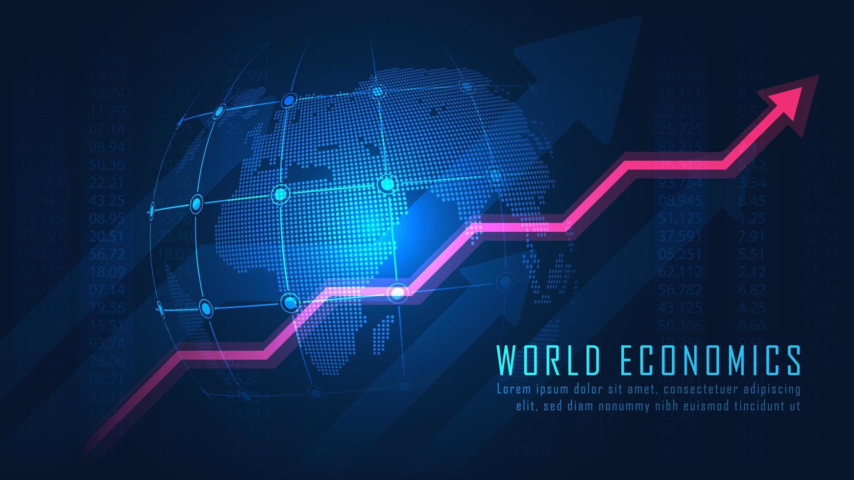 wereldwijd beursontwerp met opwaartse pijl vector