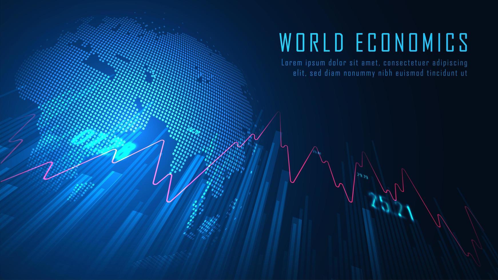gloeiend blauw wereldeconomieontwerp vector
