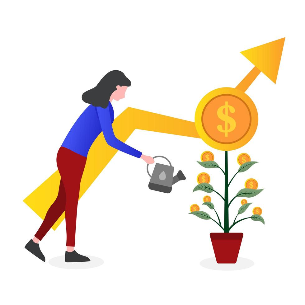 vrouw drenken plant met munten op bladeren vector
