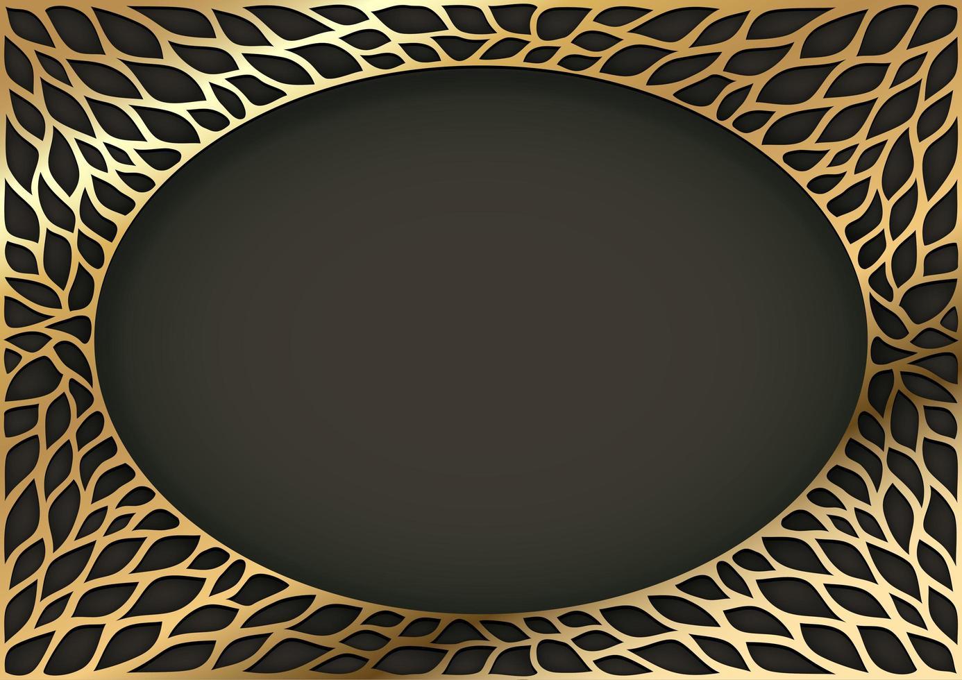 gouden decoratief vintage ovaal frame vector