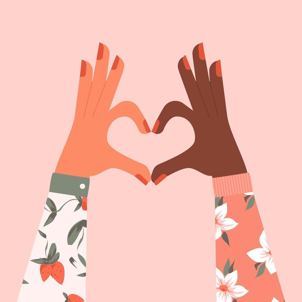 multiraciale vrouwelijke handen vormen een hartvorm vector