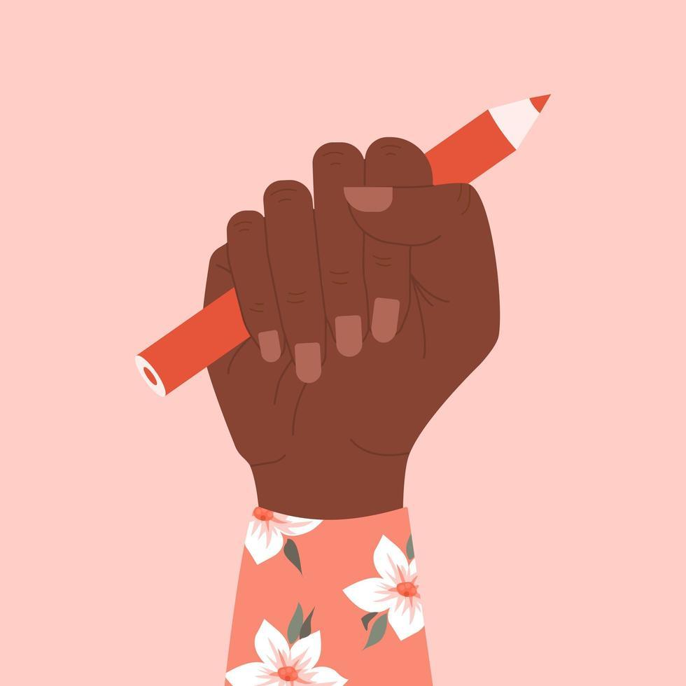 verhoogde vrouwelijke vuist met een potlood vector