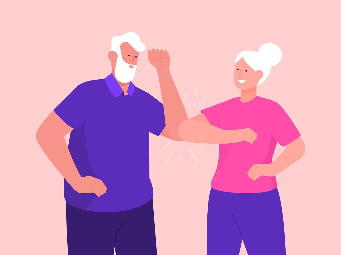 oudere vrouw en man groet met elleboogbult vector