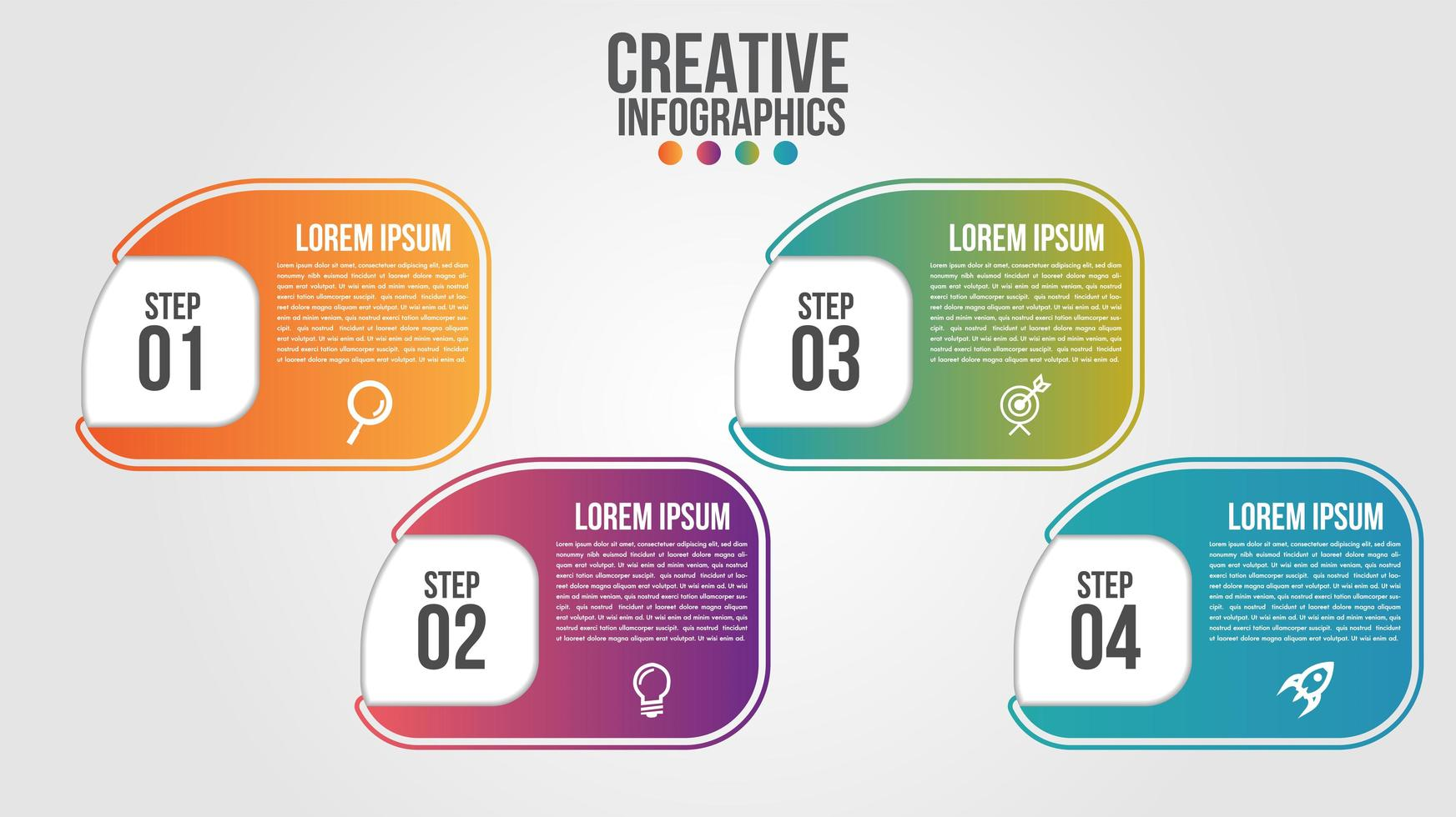 Infographic in 4 stappen afgerond verloopvorm vector