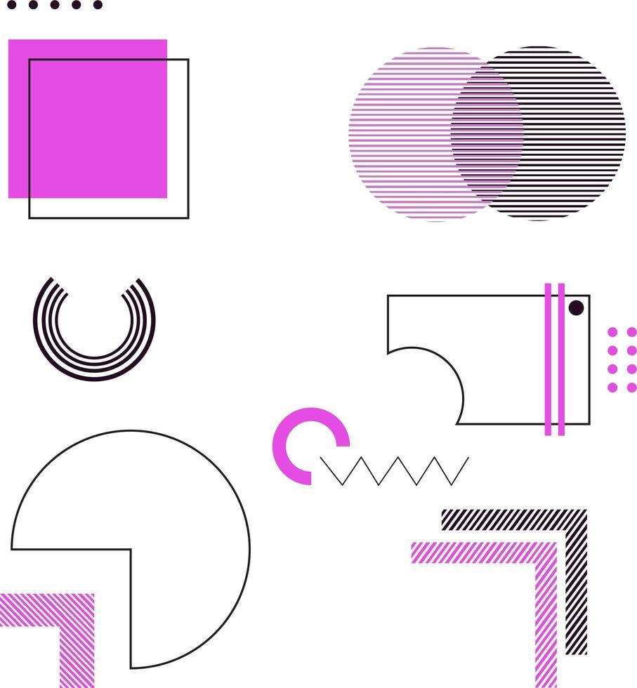 paarse en zwarte geometrische ontwerpelementen vector