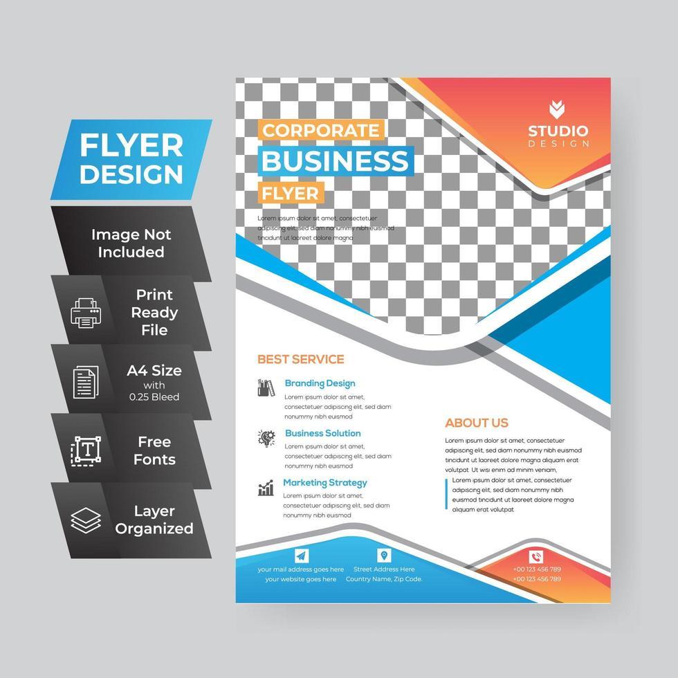 oranje en blauwe zakelijke flyer vector