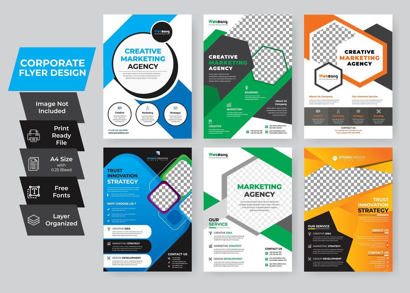 kleurrijke corporate flyer set vector