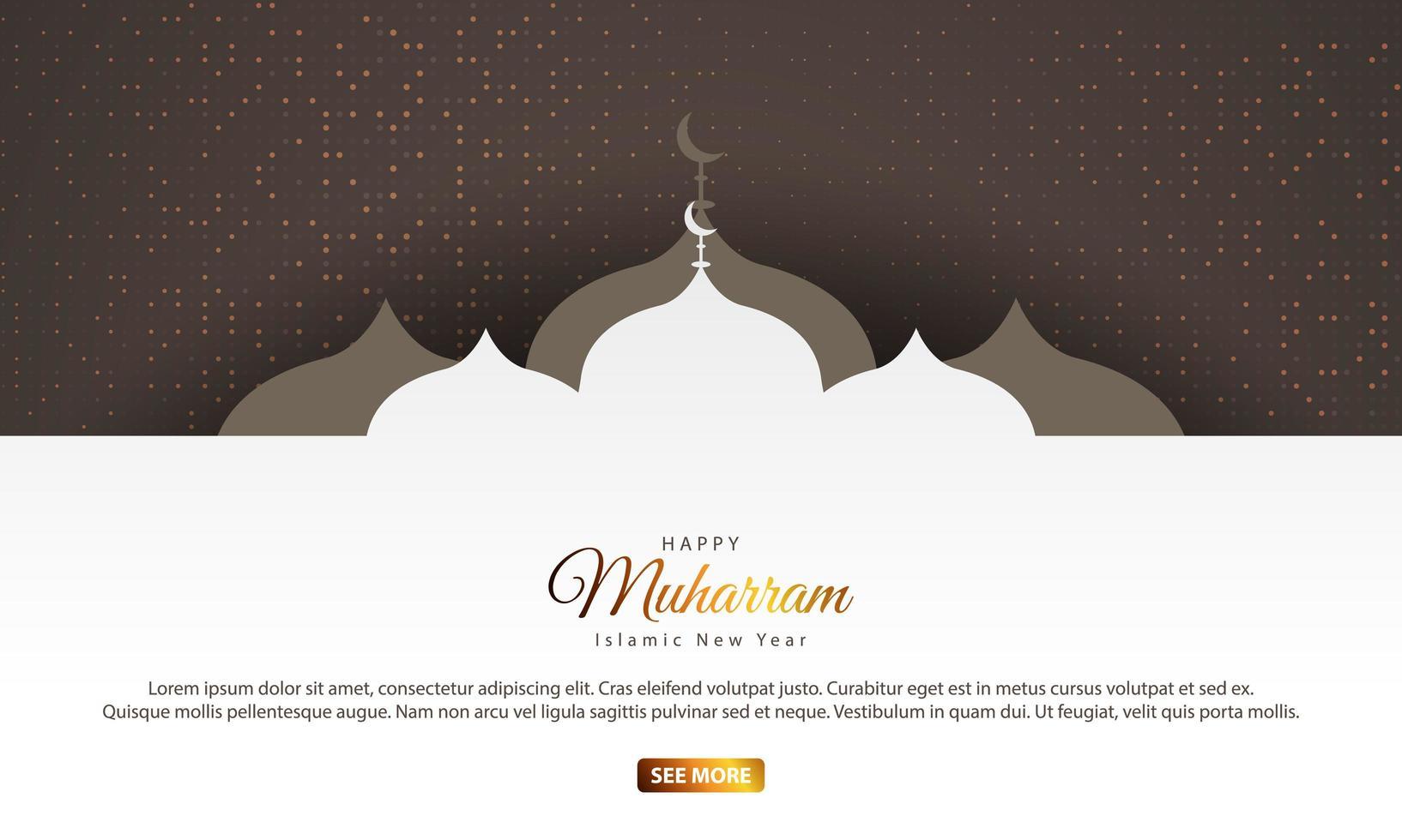 islamitisch nieuwjaarsontwerp met moskeesilhouetten vector
