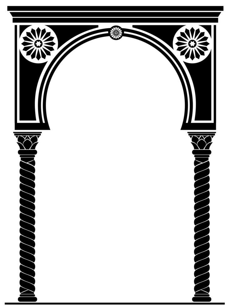 architectonische boog in zwarte Arabische of oosterse stijl vector