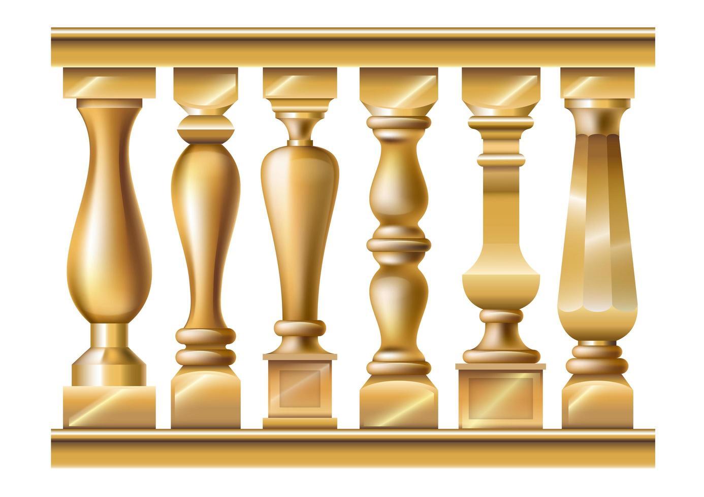 set van verschillende gouden balusters vector