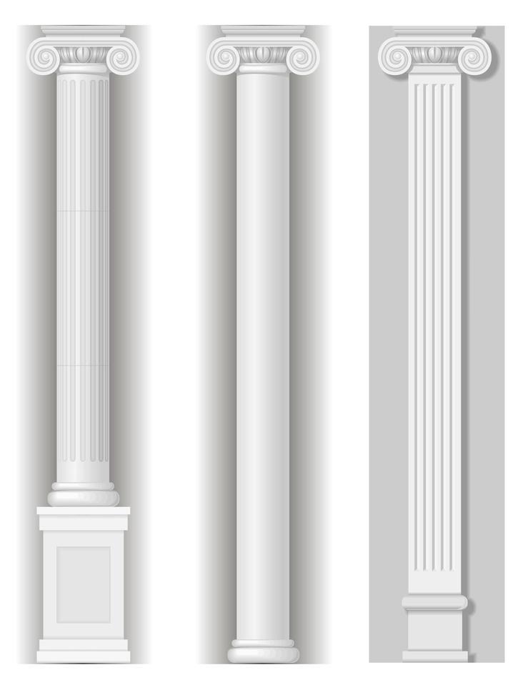 klassieke antieke witte kolomset vector