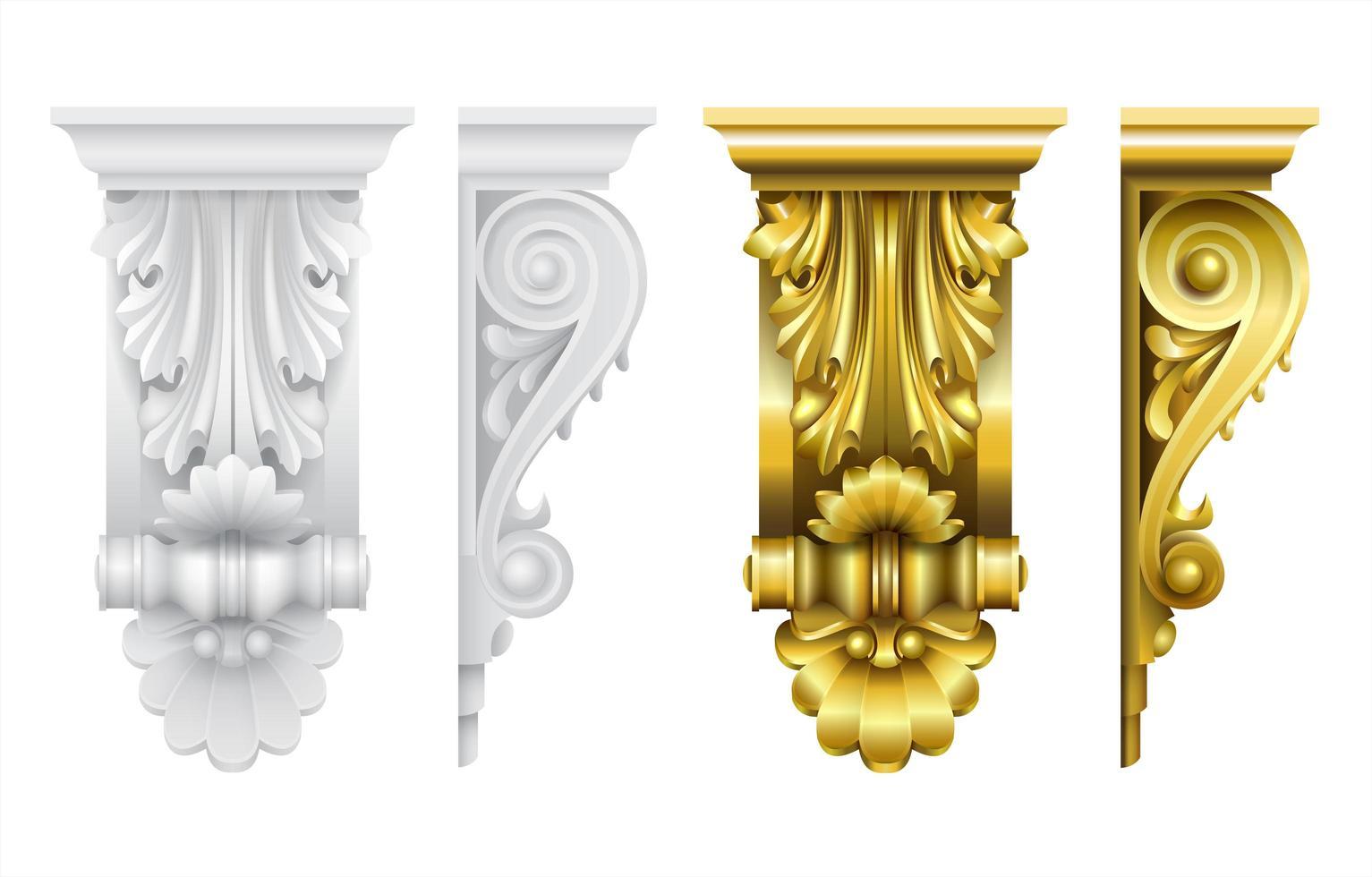 architectonische gevel klassieke barokke haakjes vector