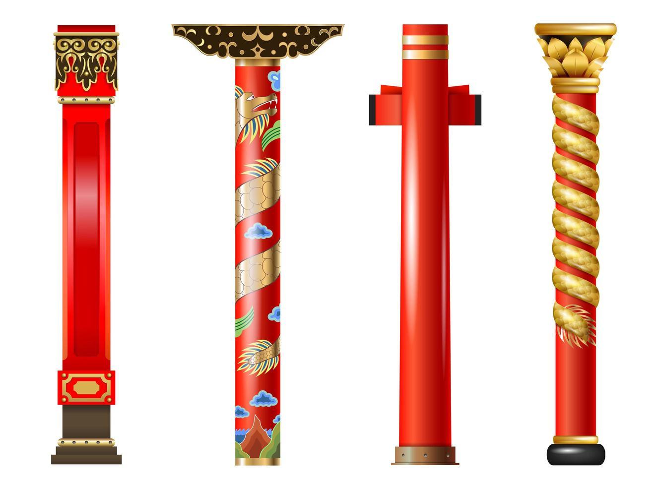 set van rode oosterse kolommen vector