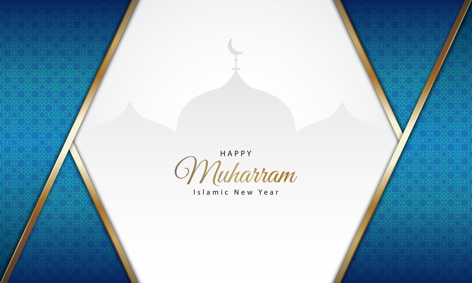 islamitisch nieuwjaar blauw patroon met moskeesilhouet vector