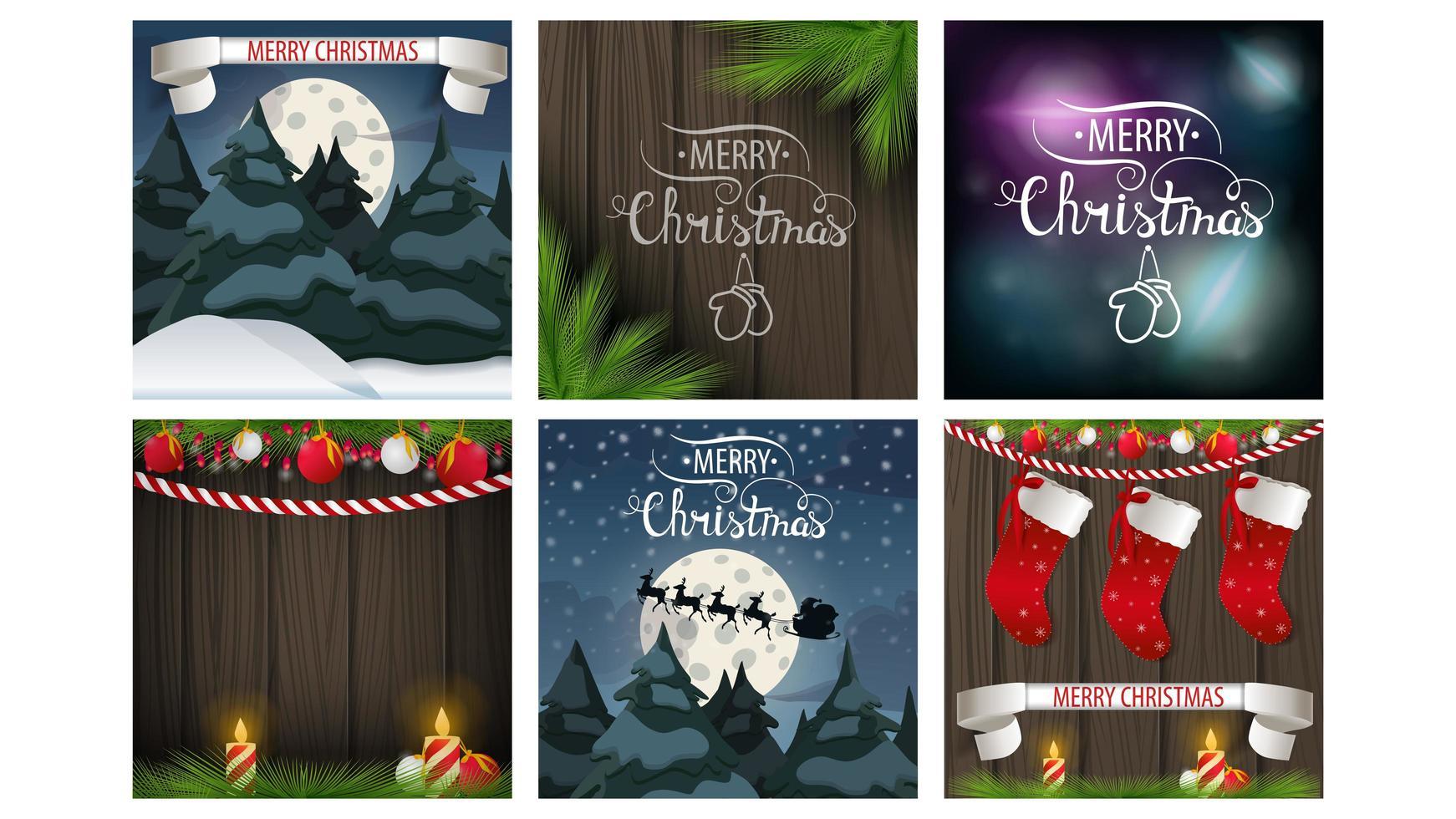 vierkante merry christmas-kaartenset vector