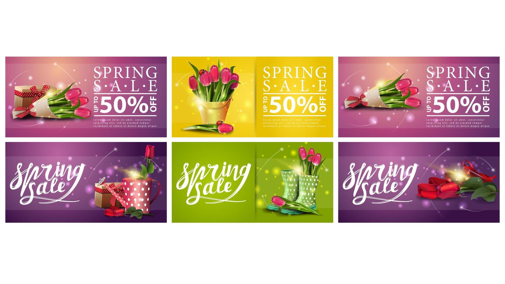 kleurrijke bloemen gloeiende lente verkoop banners vector