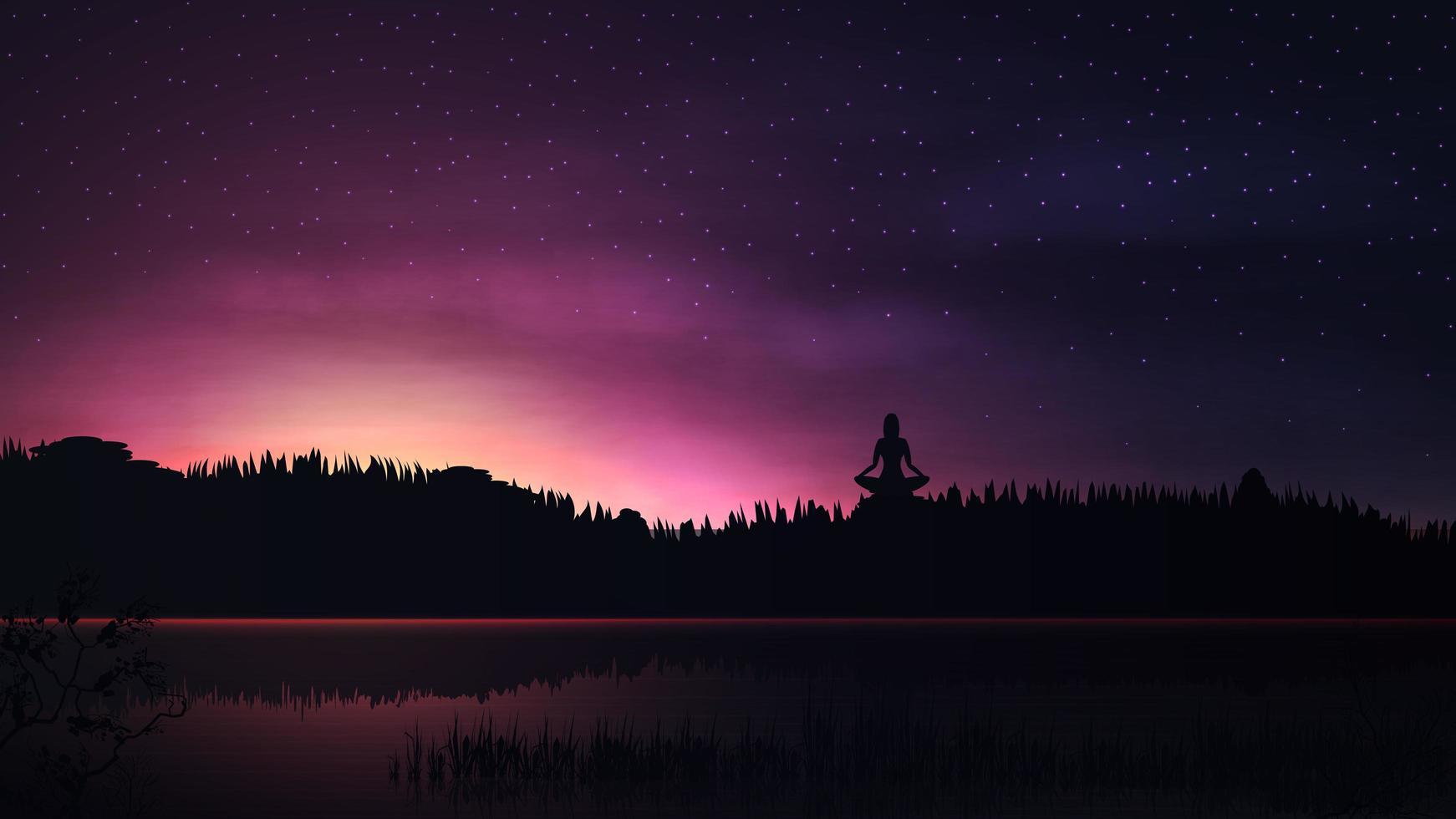 paars landschap met zonsopgang en meisje mediteren vector