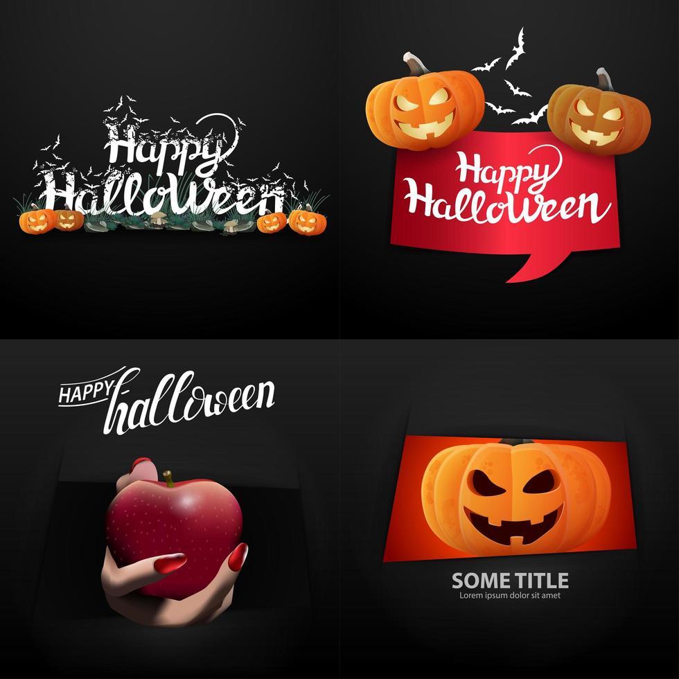 happy halloween typografie set vector