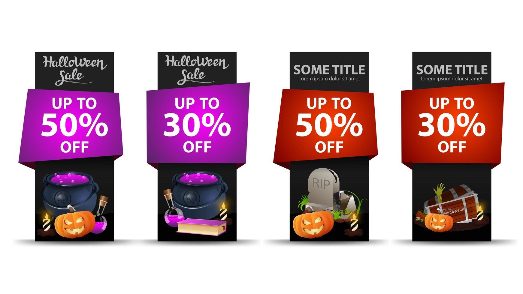 Halloween verkoop verticale banner set vector