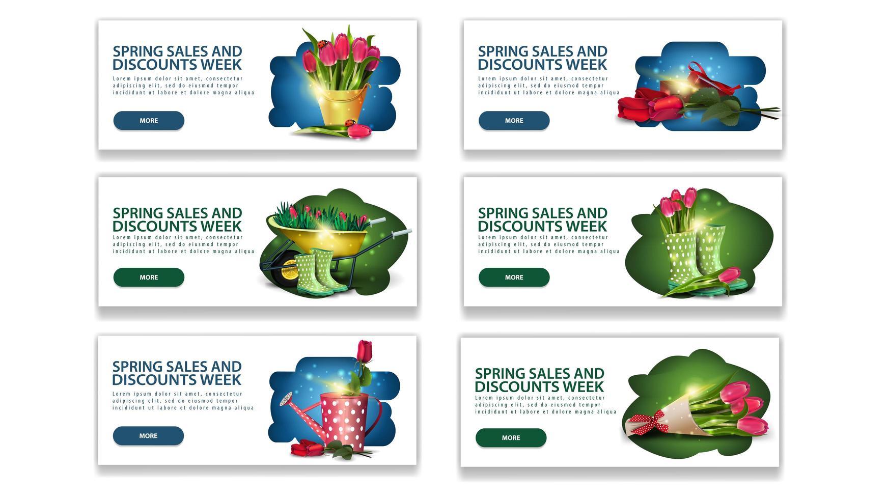 lente verkoop week korting banners met knoppen vector