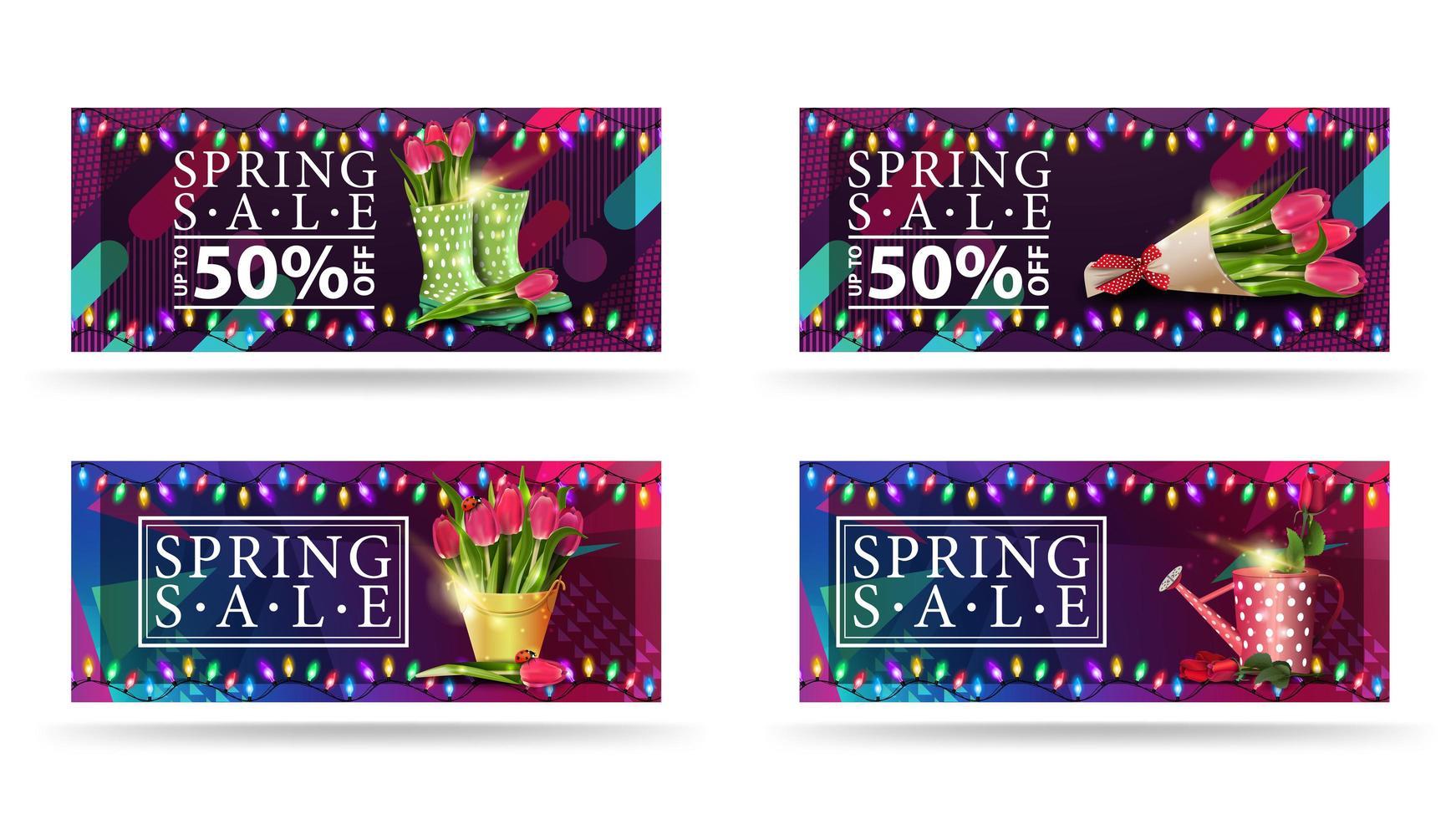 lente verkoop banners met bloemen en kleurrijke lichten vector
