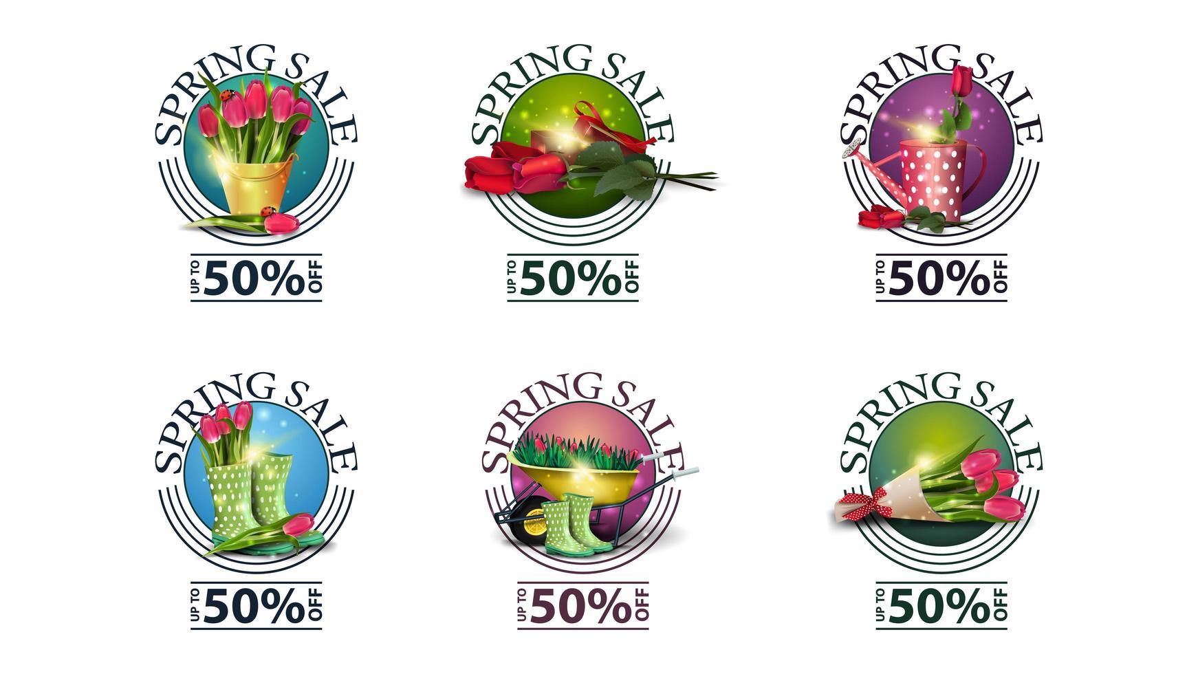 lente verkoop ronde banners met bloemen vector