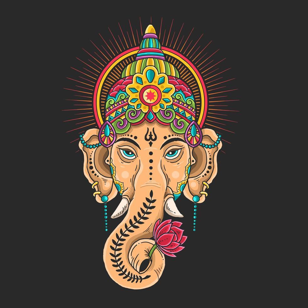kleurrijke ganesha hoofdmascotte vector