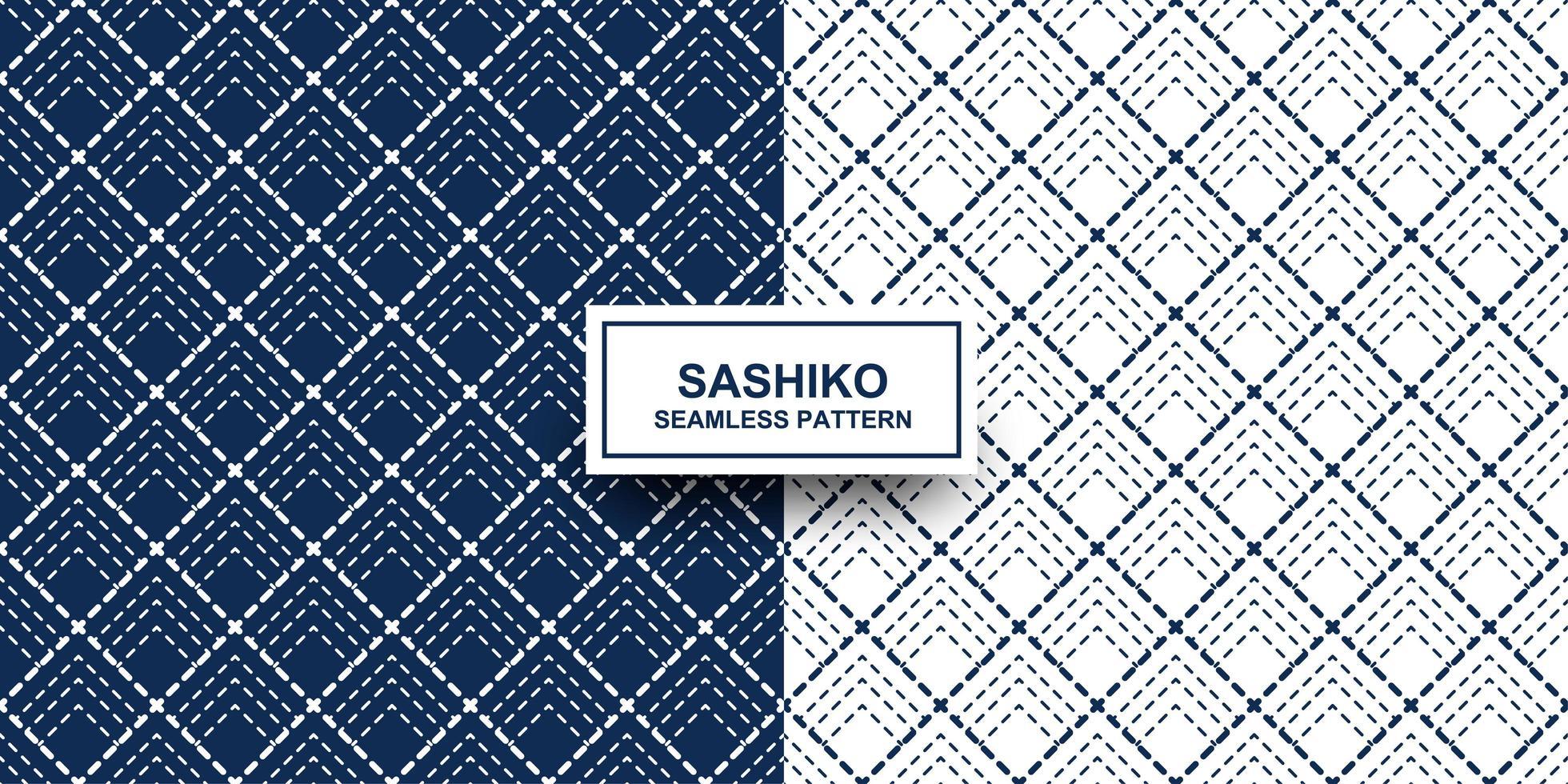 indigo en witte sashiko naadloze patroon set vector