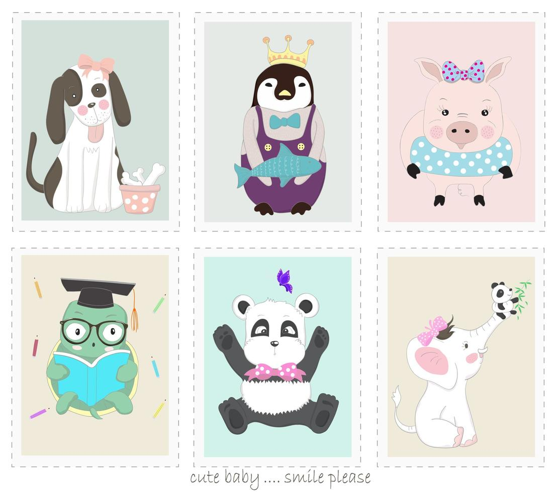 schattige dieren cartoons in fotolijsten vector
