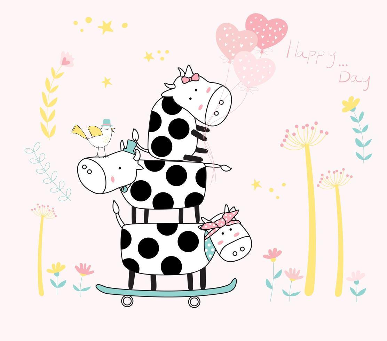 schattige gestapelde baby koeien op skateboard vector